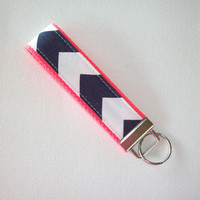 Key FOB / KeyChain / Wristlet  - Navy and white Chevron - Zig Zag on neon coral