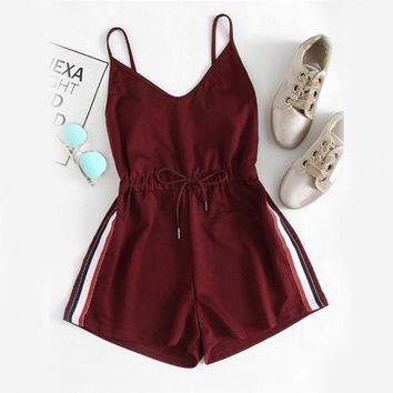 Sleeveless Playsuits Burgundy Spaghetti Strap Drawstring Romper
