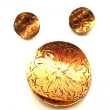 Rare Vintage GRET BARKIN Signed Engraved Copper Brooch & Earrings Hand Wrought