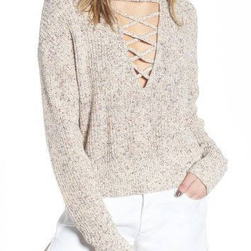 Splendid Plunging Crisscross Sweater | Nordstrom
