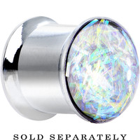 00 Gauge Stainless Steel Opalescent Confetti Party Saddle Plug | Body Candy Body Jewelry