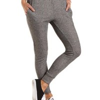Striped-Waist French Terry Jogger Pants - Charcoal Combo