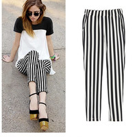 Vertical Striped Pencil Pants With Pocket