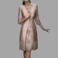 Three Quarters Long Sleeves Knee Length Mother of Bride/Groom Dress Women Suits
