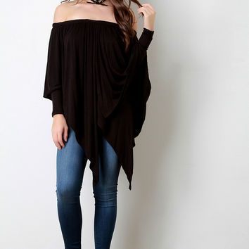 Off-The-Shoulder Draped Layer Long Sleeve Top