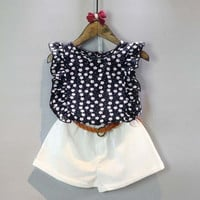 Summer Toddler Kids Baby Girls Clothes Sets Floral Chiffon Polka Dot Sleeveless T-shirt Tops+Shorts