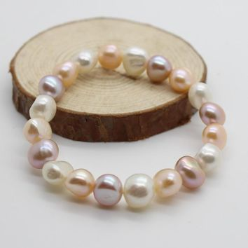 YYW Simple Circle Natural Real Freshwater Cultured Pearl Bracelets Women Gifts Pink White Purple Elastic Pearl Baroque Bracelets