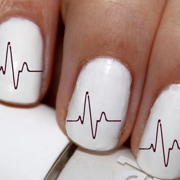 20 pc Heartbeat Ekg Ecg Lines Nail Art Heart Beat Nail Decals Nail Stickers Lowest Price On Etsy #cg947na3