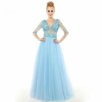 A line Half sleeve Rhinestone Tulle Long Prom Gown Women Real Picture Formal Evening dresses