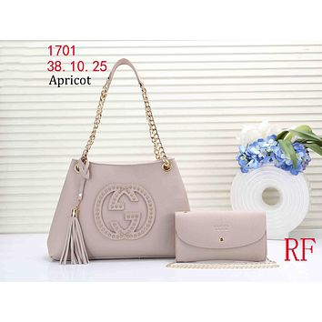 GUCCI tide brand female rivet double G logo shopping tassel bag shoulder bag Messenger bag two-piece Apricot