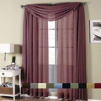 Abri Rod Pocket Crushed Sheer Curtain (Single)