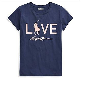 Polo Ralph Lauren Women's Pink Pony Love Graphic T-Shirt at Amazon Women's Clothing store: