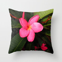 Plumeria Flower Pillow, Hot Pink Pillow, Hawaiian Pillow, Girly Pillow, Photo Pillow Case, Beach House Pillows,Tropical Pillow, 16X16 18X18