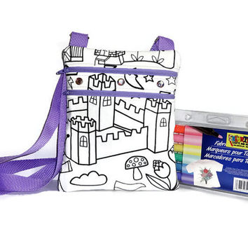 Color Me Bag, Personalized Bag, Little Girls Bag, Sling Bag, Girls Purse, Kids Bag, Small Messenger Bag, Small Girls Purse, Childrens Purse