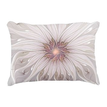 Floral Fantasy Abstract Fractal Art Decorative Pillow