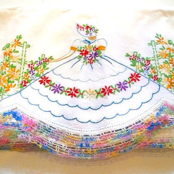 Vintage Hand Embroidered Flowers Hoop Skirted Lady in a Garden Pillowcases