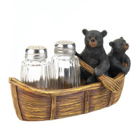 Black Bear Canoe Salt & Pepper Shaker Set