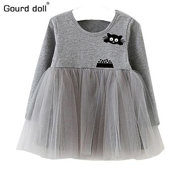 Spring 4-24M Baby Girls Mini Dress Polyester mesh Infant Party christmas Dress O-Neck Ruched girls character dress size S,M,L