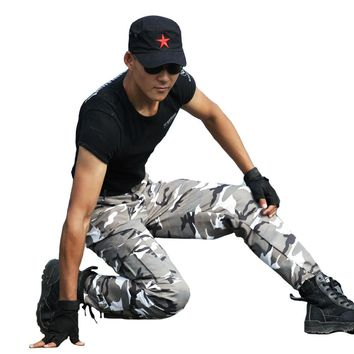 Mens Tactical Camouflage Pants Special Force Police Active Pants Clothing OPS Army Military Combat Camo Pants Cargo Trouser CS