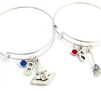 Best Witches Bangles, Gift For Best Friends, Friendship Bracelets, 2 BFF Jewelry, Witch Bracelet, Best Bitches, Custom Birthstone, Initial