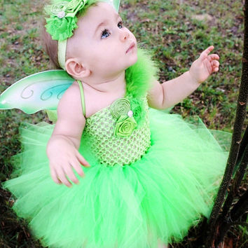 The Tinkerbell Headband, Wings, & Tutu Dress- Green, Birthday, Halloween, Costume, Pageant, baby girl, infant, toddler, child, photo prop