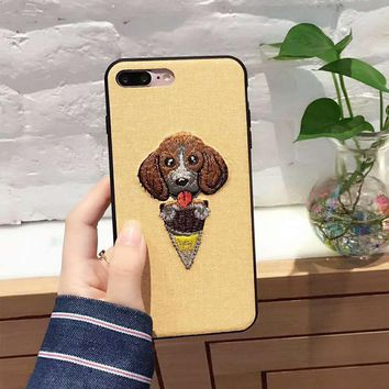 Ice Cream Cone Dog Embroidered Phone Case