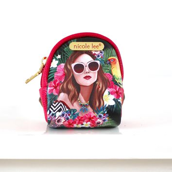 Tropical Print Backpack Key Chain