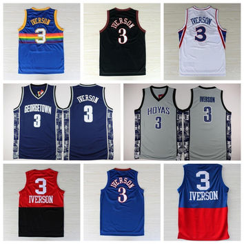 Cheap Mens 3 Allen Iverson Jersey Georgetown Hoyas Throwback Allen Iverson College Basketball Jerseys Vintage USA Dream Team Navy Blue White