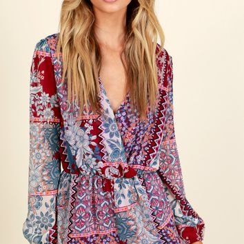 Feel Good Print Romper Magenta