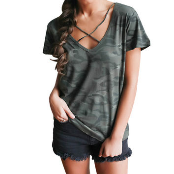 Street Style Women's Summer T-Shirts Top Printed Camouflage Casual Loose T Shirt Short Sleeve V-neck Loose Tee Shirt S-2XL GV581