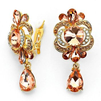 "2"" Drop Opal Peach Glass Crystal Rhinestone Gold Clip on Flower Earrings Drag Queen Pageant Jewelry"