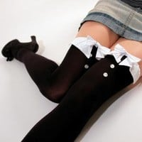 Tuxedo Thigh High Long Socks
