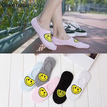 Campus wind Women Low Cut Cotton Socks emoji Yellow Smiling face printing sock Girls Casual Sock Harajuku cute style 1pair=2pcs