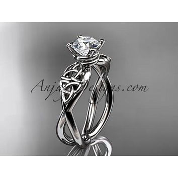 14kt white gold celtic trinity knot engagement ring, wedding ring CT770