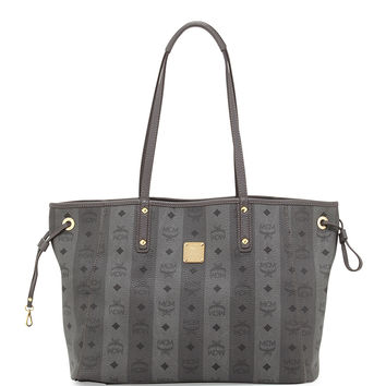 Shopper Project Reversible Tote Bag, Gray Stripe - MCM