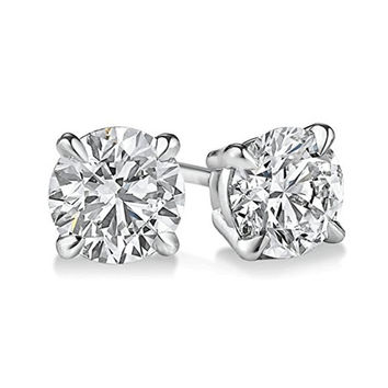 Round Genuine White Diamond Stud In White Gold.