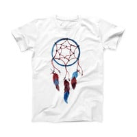 The Watercolor Red and Blue Toned Dream Catcher ink-Fuzed Front Spot Graphic Unisex Soft-Fitted Tee Shirt