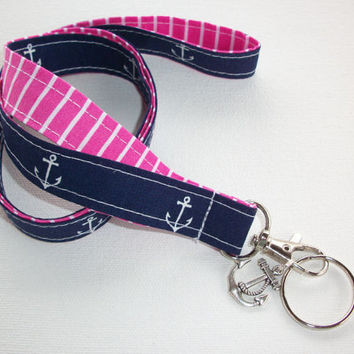 Lanyard  ID Badge Holder - Anchors - Lobster clasp and key ring with Charm - navy blue white with pink white stipes two toned double sided
