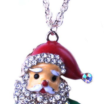 Champagne Gold Rhinestone Santa Claus with Gift Necklace NLN0000117