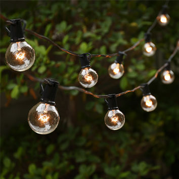 String Lights with 25 G40 Globe Bulbs UL listed for Indoor Outdoor Commercial Outdoor Hanging Umbrella Garden Patio Lamp Lights