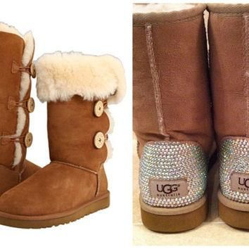 Swarovski Crystal Embellished Bling Bailey Button Tall Uggs - Christmas / Holiday Blin