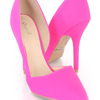 Hot Pink Single Sole Pointed Toe D-Orsay Pump Heels Nubuck