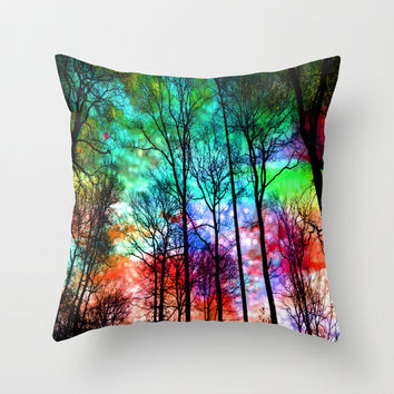 Magical sky pillow/magical pillow/colorful pillow/trees pillow/forest pillow/woodland pillow/green pillow/red pillow/orange pillow/homedecor