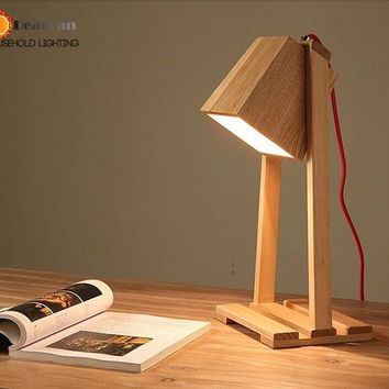 Modern Wooden Study/Reading LED Table Lamp