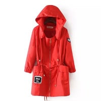 Letter Embroidered Drawstring Hoodie Coat