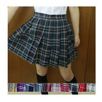 Japanese School Girl Uniform Plaid Pleated Mini Skirt Cheerleader Dress Cosplay
