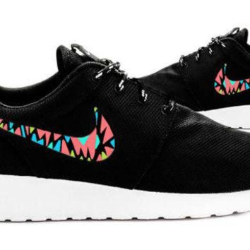 ONETOW Womens Custom Nike Roshe Run sneakers, Infrared, Aqua, Teal, Lime, trendy design, Cute