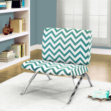 "Accent Chair - Teal "" Chevron "" Fabric - Chrome Metal"