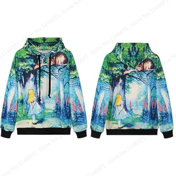Alice In Wonderland Skateboarding Hoodies Men Sweatshirts Alice & Cheshire Cat Hooded Sport Suits Autumn Long Sleeves Tracksuits