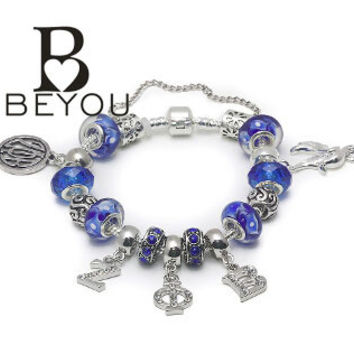 Zeta Phi Beta Charm Bead Bracelet with crystal letters